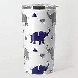 Elephants & Triangles - Gray / Navy Blue Travel Mug