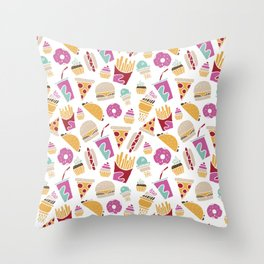 Fast Food Borderless Pattern Throw Pillow
