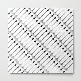 Tribal Art Arrows, Black and White Pattern Metal Print