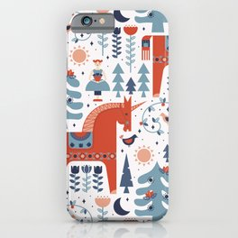 Scandinavian Inspired Folkstory - Red + Blue iPhone Case
