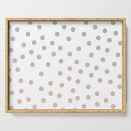Simply Dots in Coral Peach Sea Green Gradient on White Serving Tray