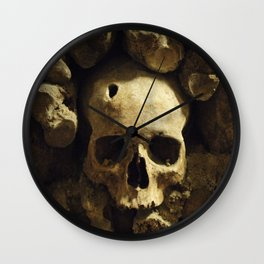 Skull From Catacombs in Paris Wall Clock