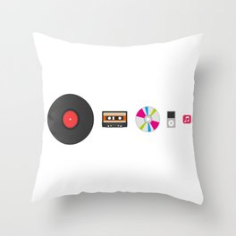Evolution of Music Throw Pillow