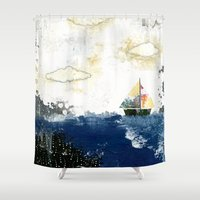 sailboat Shower Curtains featuring The Sailboat by Sarah Ogren