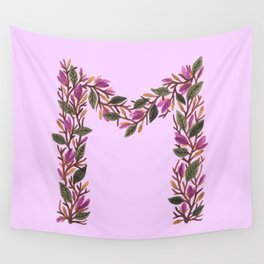 Leafy Letter M Wall Tapestry