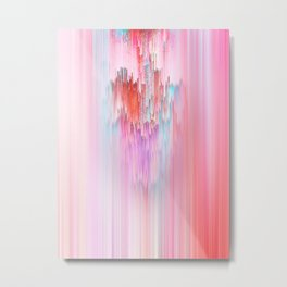 Abstract Cascade Glitch 2.Red and Pink Metal Print
