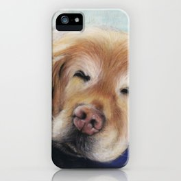 Sweet Sleeping Golden Retriever Puppy by annmariescreations iPhone Case