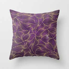 Tangles Violet and Gold Throw Pillow