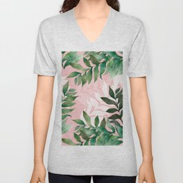 Dreamy Leaves in Pink and Green Unisex V-Neck