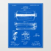 drum Canvas Prints featuring Drum Patent by Finlay McNevin