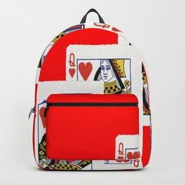 HANDFULL RED QUEEN OF HEATS CASINO CARDS Backpack