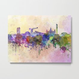 Glasgow skyline in watercolor background Metal Print