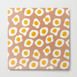 Eggs Pattern (Neutral Beige Background) Metal Print