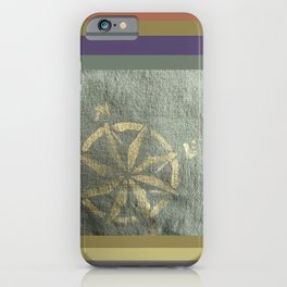 Compass: painted in gold metallic on hand dyed green fabric iPhone Case