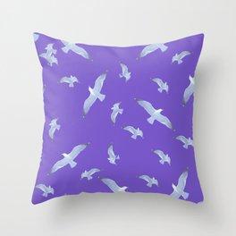 purple seagull day flight Throw Pillow