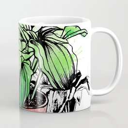 Green Leaves in the red Plant Pot Coffee Mug
