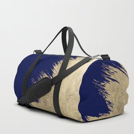 Navy blue abstract faux gold brushstrokes Duffle Bag