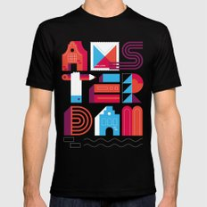Postcards from Amsterdam / Typography MEDIUM Mens Fitted Tee Black