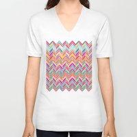 chevron V-neck T-shirts featuring Chevron by Aftab