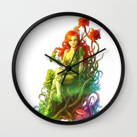 poison ivy Wall Clocks featuring Poison Ivy by aken