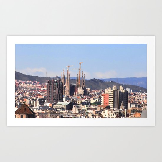 Barcelona: City view with Sagrada Familia Art Print