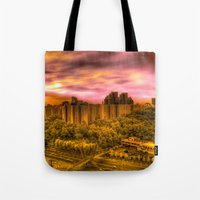 korea Tote Bags featuring Sunrise in Korea by Anthony M. Davis