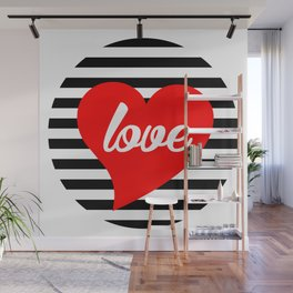 Love With Heart, Typography, Red Heart and Black Stripes, Sticker Wall Mural