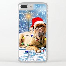 dogue de bordeaux dog Holidays Christmas Snow Clear iPhone Case