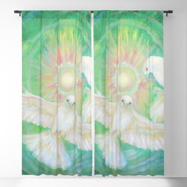 Doves, healing, green energy Blackout Curtain