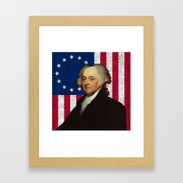 John Adams and The American Flag Framed Art Print