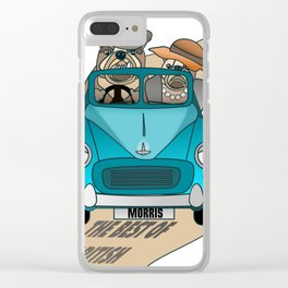 The  Best of British - English Bulldogs in a Morris Minor Clear iPhone Case