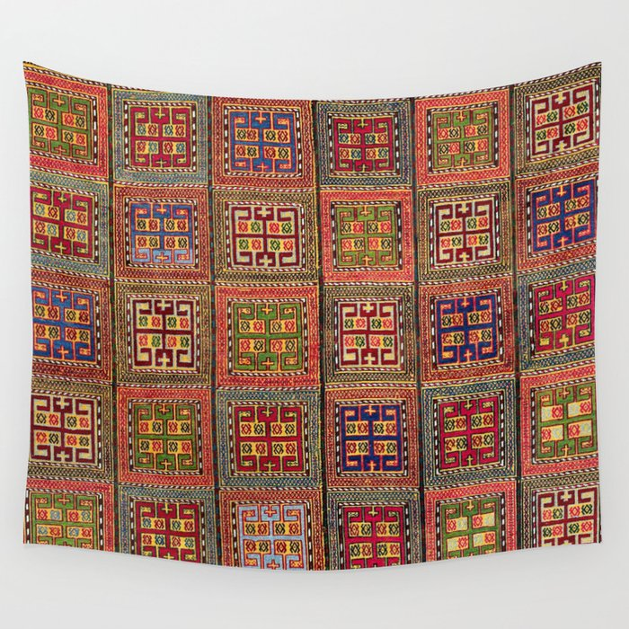 Azeri Verneh  Antique Karabagh Caucasian Rug Print Wall Tapestry