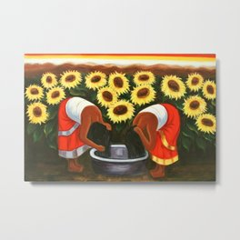 Two women in sunflower fields by Diego Rivera Metal Print