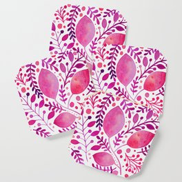 Branches and leaves - pink and purple Coaster