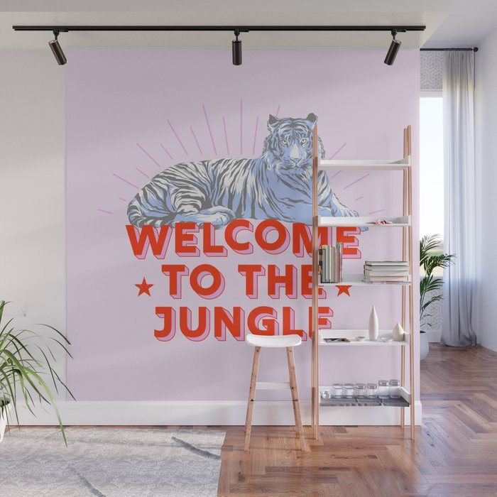 welcome to the jungle - retro tiger Wall Mural