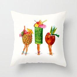 Tiki Cocktail Pin-Ups Throw Pillow