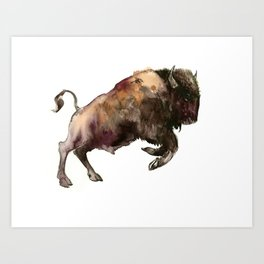 Bison, Bull, animal woodland, bison art, wildlife design Art Print