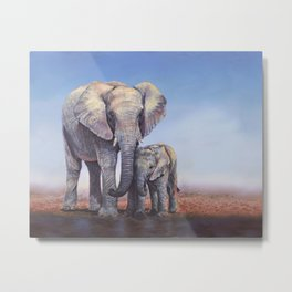 Elephants Mom Baby Metal Print