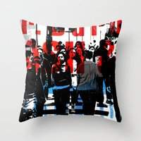 obey Throw Pillows featuring Obey by Deanna Fainelli