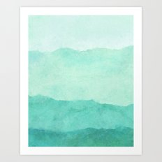 Abstract Turquoise Waves Art Print