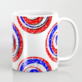 Polka Dot Red White Blue Marble Stacked Tiles Coffee Mug