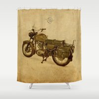 ducati Shower Curtains featuring Ducati vintage background by Larsson Stevensem