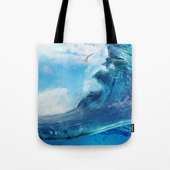 Beach Waves Ocean Blue Clouds Sun Sunset Tote Bag