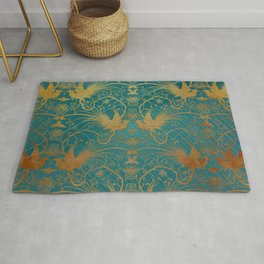 """""""Turquoise and Gold Paradise Birds"""" Rug"""