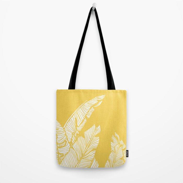 Banana Leaves on Yellow #society6 #decor #buyart Tote Bag