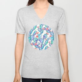 Rainbow Watercolor Cactus Pattern Unisex V-Neck