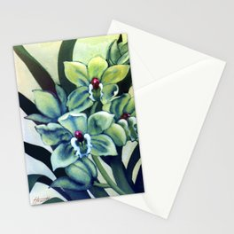 Green Orchids Triptych Stationery Cards