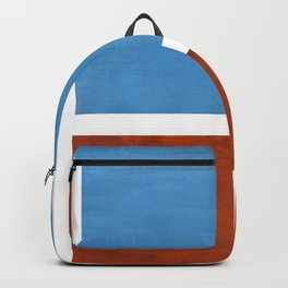 Antique Pastel Blue Brown Mid Century Modern Abstract Minimalist Rothko Color Field Squares Backpack