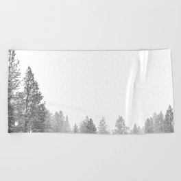 Winterland // Snowy Landscape Photography White Out Winter Pine Tree Artwork Beach Towel