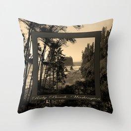 ruby beach, wa, usa old school (2x square) Throw Pillow